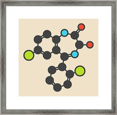 Lorazepam Sedative Drug Molecule Framed Print by Molekuul