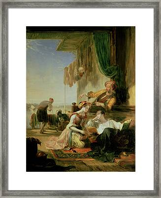Lord Byron Reposing In The House Of A Fisherman Having Swum The Hellespont, 1831  Framed Print by Sir William Allan