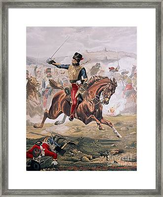 Lord Cardigan Leading The Charge Of The Light Brigade At The Battle Of Balaklava Framed Print by Henry A Payne