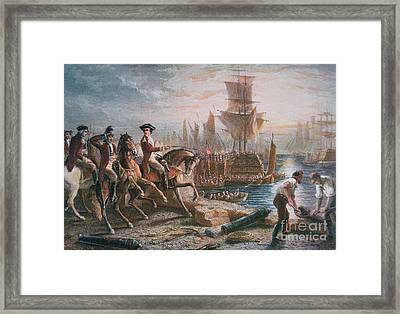 Lord Howe Organizes The British Evacuation Of Boston In March 1776 Framed Print by English School