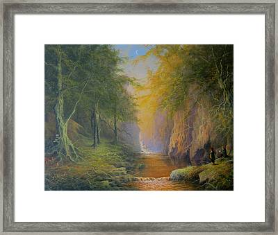 Lord Of The Rings Treebeard Merry And Pippin Framed Print by Joe  Gilronan