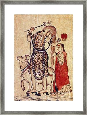 Lord Shiva With Sacred Bull Nandi Framed Print by Photo Researchers