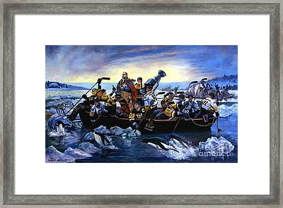 Lord Stanley And The Penguins Crossing The Allegheny Framed Print by Frederick Carrow