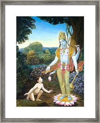 Lord Vishnu Apprears To Dhruva Framed Print by Dominique Amendola