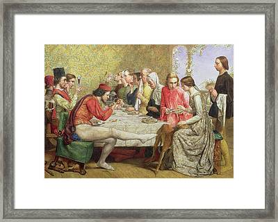 Lorenzo And Isabella Wc On Paper Framed Print by Sir John Everett Millais