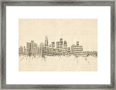 Los Angeles California Skyline Sheet Music Cityscape Framed Print by Michael Tompsett