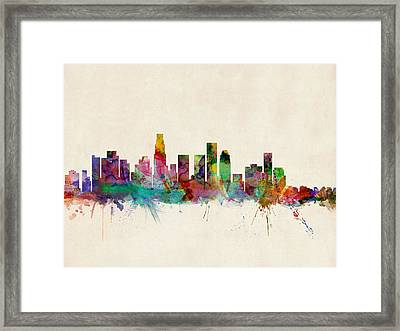 Los Angeles City Skyline Framed Print by Michael Tompsett