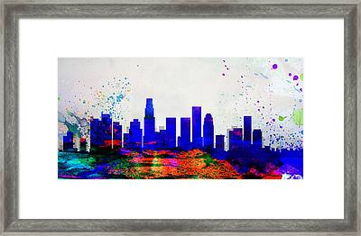 Los Angeles City Skyline Framed Print by Naxart Studio