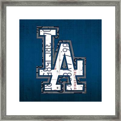 Los Angeles Dodgers Baseball Vintage Logo License Plate Art Framed Print by Design Turnpike