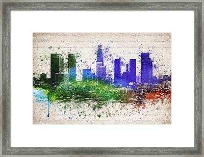 Los Angeles In Color  Framed Print by Aged Pixel