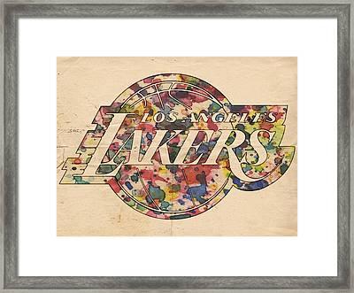 Los Angeles Lakers Poster Art Framed Print by Florian Rodarte
