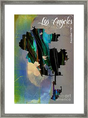 Los Angeles Map Watercolor Framed Print by Marvin Blaine