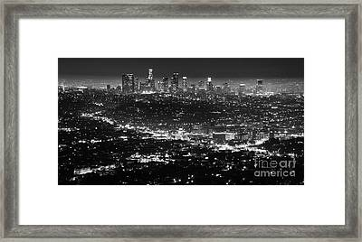 Los Angeles Skyline At Night Monochrome Framed Print by Bob Christopher