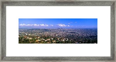Los Angeles Skyline From Mulholland Framed Print by Panoramic Images