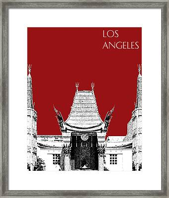Los Angeles Skyline Graumans Chinese Theater - Dark Red Framed Print by DB Artist