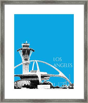 Los Angeles Skyline Lax Spider - Ice Blue Framed Print by DB Artist
