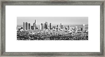 Los Angeles Skyline Panorama Photo Framed Print by Paul Velgos