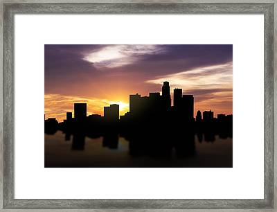 Los Angeles Sunset Skyline  Framed Print by Aged Pixel