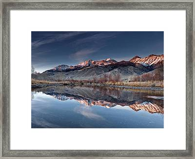Lost River Mountains Winter Reflection Framed Print by Leland D Howard