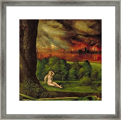 Lot And His Daughter, 1537 Oil On Canvas Detail Of 66125 Framed Print by Albrecht Altdorfer