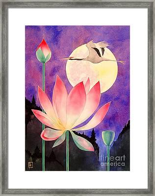 Lotus And Crane Framed Print by Robert Hooper