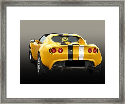 Lotus Elise In Yellow Framed Print by Gill Billington