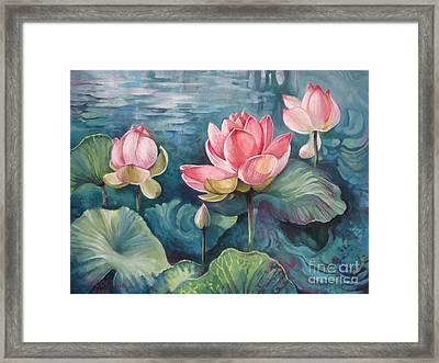 Lotus Pond Framed Print by Elena Oleniuc