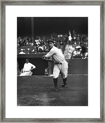 Lou Gehrig Warming Up Hitting Framed Print by Retro Images Archive