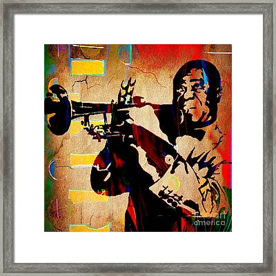 Louis Armstrong Collection Framed Print by Marvin Blaine