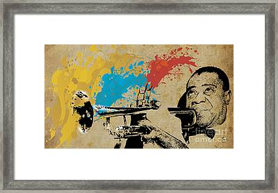 Louis Armstrong Trumpet And Colors Framed Print by Pablo Franchi