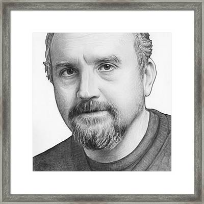 Louis Ck Portrait Framed Print by Olga Shvartsur