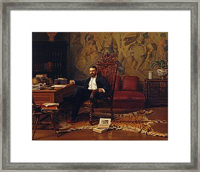 Louis Signorino Seated In His Study  Framed Print by Gustave Bourgain