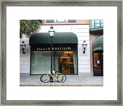 Louis Vuitton Store Shop Boutique - Charleston South Carolina Louis Vuitton Bicycle Street Scene Framed Print by Kathy Fornal