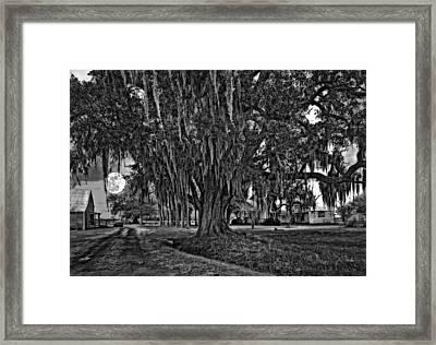 Louisiana Moon Rising Monochrome  Framed Print by Steve Harrington