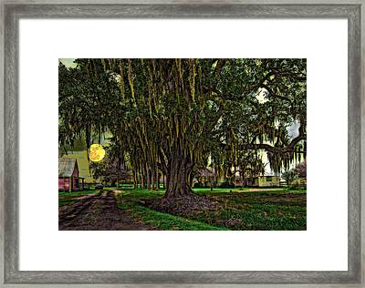 Louisiana Moon Rising Framed Print by Steve Harrington