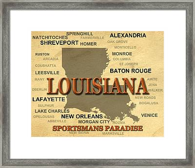 Louisiana State Pride Map Silhouette  Framed Print by Keith Webber Jr