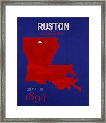 Louisiana Tech University Bulldogs Ruston Louisiana College Town State Map Poster Series No 056 Framed Print by Design Turnpike