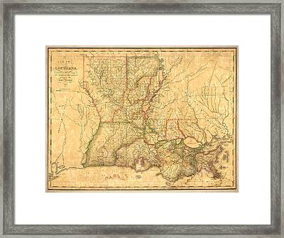 Louisiana Vintage Antique Map Framed Print by World Art Prints And Designs