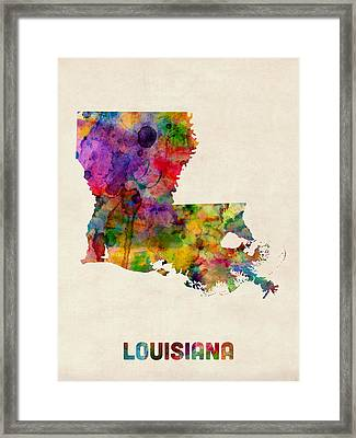 Louisiana Watercolor Map Framed Print by Michael Tompsett