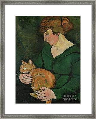 Louison E Raminou Framed Print by Marie Clementine Valadon
