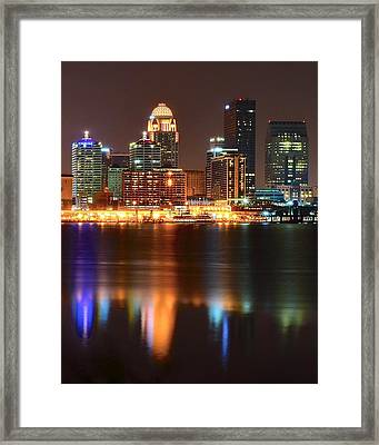 Louisville At Night  Framed Print by Frozen in Time Fine Art Photography