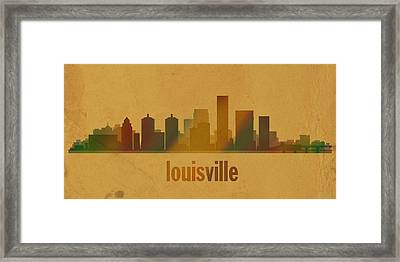 Louisville Kentucky City Skyline Watercolor On Parchment Framed Print by Design Turnpike