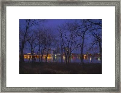 Louisville Kentucky Night Skyline Digital Paint Framed Print by David Haskett