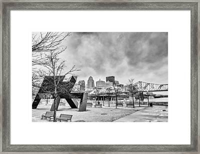 Louisville Kentucky Skyline Bnw Framed Print by David Haskett