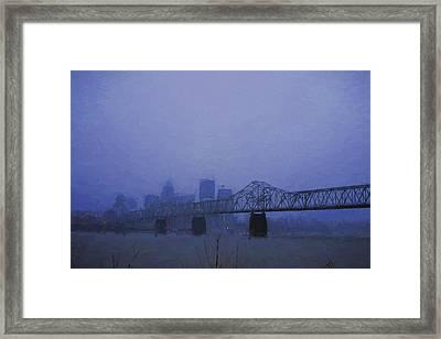 Louisville Kentucky Skyline Digital Painting Framed Print by David Haskett