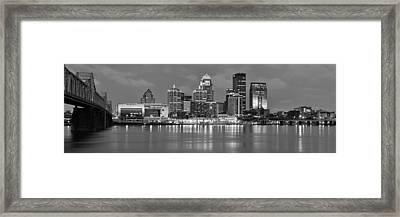 Louisville Skyline At Dusk Sunset Bw Black And White Panorama Kentucky Framed Print by Jon Holiday