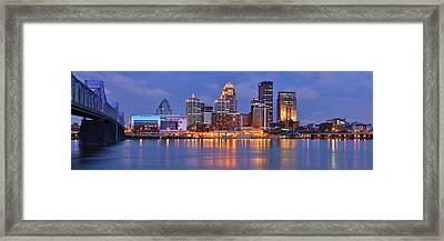 Louisville Skyline At Dusk Sunset Panorama Kentucky Framed Print by Jon Holiday