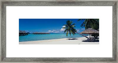 Lounge Chair Under A Beach Umbrella Framed Print by Panoramic Images