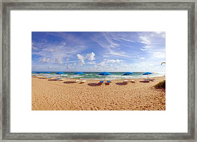 Lounge Chairs And Beach Umbrellas Framed Print by Panoramic Images