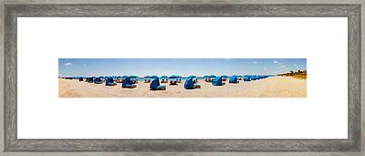 Lounge Chairs On The Beach, Delray Framed Print by Panoramic Images